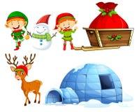 Christmas characters and igloo. Illustration Royalty Free Stock Photos