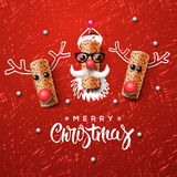 Christmas characters, Santa Claus and reindeer Royalty Free Stock Photography