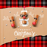 Christmas characters, Santa Claus and reindeer Stock Photo