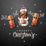 Christmas characters, Santa Claus and reindeer. Made from wine cork, art and craft Christmas decoration, vector illustration Stock Photography