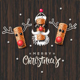 Christmas characters, Santa Claus and reindeer Royalty Free Stock Photo