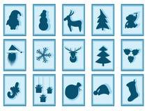 Christmas characters Santa Claus, reindeer, Xmas tree, snowflake Stock Photos