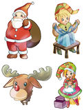 Christmas characters: Santa Claus, Rudolph, elves Royalty Free Stock Images