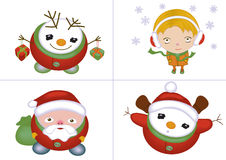 Christmas characters set. Christmas icons isolated with santa, snowman, little girl,  illustration Stock Photo