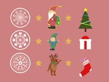 Christmas characters set with snowflakes and gifts  illustration. Merry Christmas  illustration set Royalty Free Stock Photo