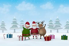 Christmas characters in a snowy winter landscape. Santa Claus, a Christmas Elf and a reindeer with Christmas gifts in a snowy winter landscape Royalty Free Stock Image