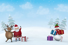 Christmas characters in a snowy winter landscape stock photography
