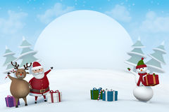 Christmas characters in a snowy winter landscape. Santa Claus, a reindeer and a snowman pointing at a blank sign in a snowy winter landscape Royalty Free Stock Images