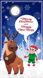 Christmas Characters In Winter Forest Happy New Year Poster Design Royalty Free Stock Photos