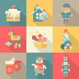 Christmas chararters sweets New Year icon set flat style concept. Holiday retro vintage icons cake house elf wooden horse fireworks candle gloves penguin Vector Illustration