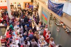 Christmas Charity Bazaar, organised by The International Women`s Club of Riga. 01.12.2018. RIGA, LATVIA. Christmas Charity Bazaar, organised by The stock photography