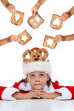 Christmas charity - giving food for the needy Stock Photo