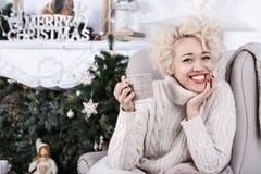 Christmas Charming big smile woman. Stock Image