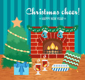 Christmas cheer and attributes. Christmas gift card. New Year greetings. Flat design. Vector Royalty Free Stock Images