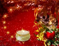 Christmas greetings, festive background for the images. 3D rendering. Christmas cheer: Christmas decorations, candles and lights. 3D rendering Royalty Free Stock Photography