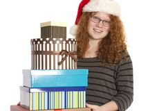 Christmas Cheer and Presents in a Pile. royalty free stock photos