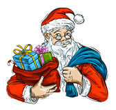 Christmas. Cheerful Santa Claus and bag with gifts. Santa Claus with a bag of Christmas gifts in hand Stock Illustration