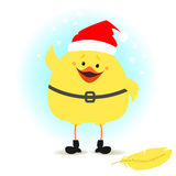Christmas chick dressed as Santa Claus Vector illustration royalty free illustration