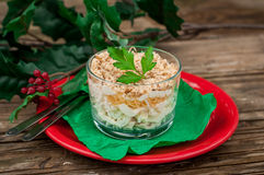 Christmas Chicken, Apple, Cheese and Egg Salad Layered with Mayo stock images
