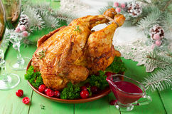 Christmas chicken with cranberry sauce Royalty Free Stock Image