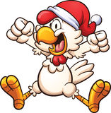 Christmas chicken. Happy chicken with a Christmas hat. Vector clip art illustration with simple gradients. All in a single layer Stock Photo