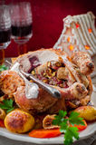 Christmas Chicken Stuffed with Bacon, Pistachio, Fig and Bread Stock Image