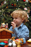 Christmas child. A cute boy playing with nativity toys in front of a christmas tree Royalty Free Stock Images