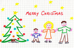 Christmas child draw Royalty Free Stock Photography