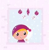 Christmas Child looking through Window Royalty Free Stock Photo