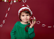Christmas Child in Santa Elf Hat Royalty Free Stock Images