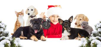 Christmaschild and a set of animals Royalty Free Stock Photos