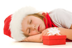 Christmas child is sleeping Stock Image