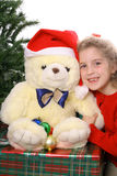 Christmas child with Teddy Bear Royalty Free Stock Photography