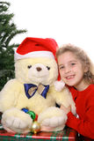 Christmas child with Teddy Bear copyspace Royalty Free Stock Photo