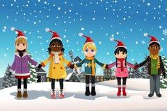 Christmas children. A vector illustration of multi-ethnic children holding hands celebrating Christmas Stock Photography