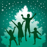 Christmas children. Green tone illustration of cheerful children and Christmas tree Stock Photography