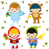 Christmas children. Illustration of christmas baby set with: santa claus, reindeer, angel and elf Stock Image