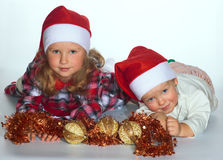 Christmas children Stock Images