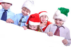 Christmas children with a banner Stock Photo