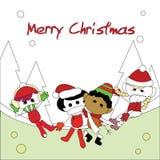 Christmas children card. For christmas theme Stock Images