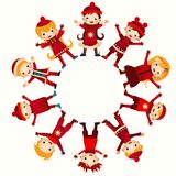 Christmas children in circle isolated on white Royalty Free Stock Photography