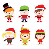 Christmas children. Collection of cute little christmas children of boys and girls Royalty Free Stock Photo