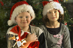 Christmas children with dog Royalty Free Stock Photography
