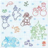 Christmas children's drawings Stock Images