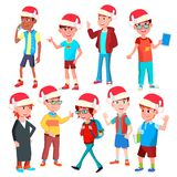 Christmas Children Set Vector. Santa Hat. Boys And Girls. Happy New Year. Isolated Cartoon Illustration stock illustration