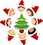 Christmas children and tree Stock Photo