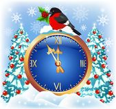 Christmas chimes with bullfinch Royalty Free Stock Images