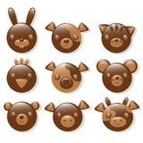Christmas chocolate. Chocolate animals set isolated on a white background Royalty Free Stock Photo