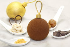 Christmas chocolate bauble with some ingredients which is made o Royalty Free Stock Photography