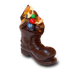 Christmas chocolate boot Stock Photo